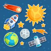 Cosmic icon set of solar system, planets and celestial bodies. — Stockvector