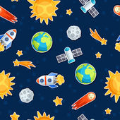 Seamless pattern of solar system, planets and celestial bodies. — 图库矢量图片
