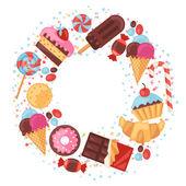 カラフルな様々 なお菓子、お菓子やケーキと背景. — ストックベクタ