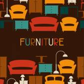 Interior seamless pattern with furniture in retro style. — Stockvector