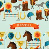 Seamless pattern with horse equipment in flat style. — Stock Vector