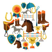 Background with horse equipment in flat style. — Stock Vector