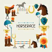 Frame with horse equipment in flat style. — Stock Vector