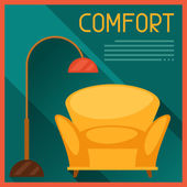 Interior illustration with furniture in retro style. — Wektor stockowy