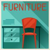 Interior illustration with furniture in retro style. — Stock Vector