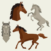 Set of horses different poses in flat style. — Stock Vector