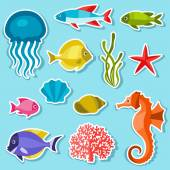 Marine life set of sticker, objects and sea animals. — Stockvector