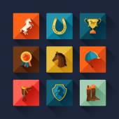 Icon set with horse equipment in flat style. — Vector de stock