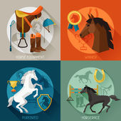 Backgrounds with horse equipment in flat style. — Stock Vector