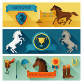 Horizontal banners with horse equipment in flat style. — Stock Vector