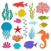 Marine life set of icons, objects and sea animals. — Cтоковый вектор
