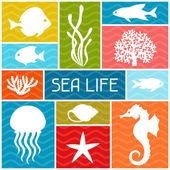 Marine life background design with sea animals. — Stock Vector