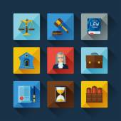 Law icons set in flat design style. — Vettoriale Stock
