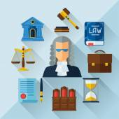 Law icons background in flat design style. — Stock Vector