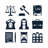 Law icons set in flat design style. — Stockvektor