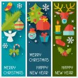 Merry Christmas and Happy New Year vertical banners. — Stock Vector #57654497