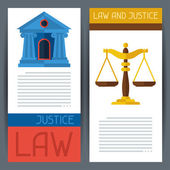 Law and justice horizontal banners in flat design style. — Stock Vector