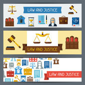 Law and justice horizontal banners in flat design style. — Vector de stock