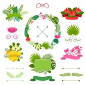 Set of tropical plants wreath, ribbons and labels. — 图库矢量图片