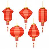 Set of various abstract red Chinese lanterns. — Stock Vector