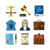 Law icons set in flat design style. — Stock Vector