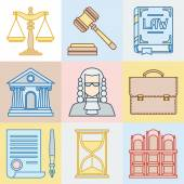 Law contour icons set in flat design style. — Stock Vector