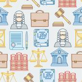 Law contour icons seamless pattern in flat design style. — Cтоковый вектор