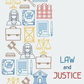 Law and justice icons seamless pattern in flat design style. — Stock Vector