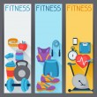 Sports vertical banners with fitness icons in flat style. — Stock Vector #58441421