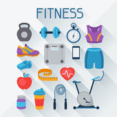 Sports and fitness icons set in flat style. — Stock Vector