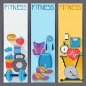 Sports vertical banners with fitness icons in flat style. — 图库矢量图片