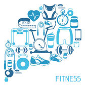 Sports background with fitness icons in flat style. — Stock Vector