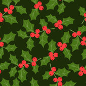 Winter seamless pattern with stylized holly leaves. — Stock Vector