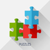 Game illustration with puzzles in flat design style. — Stock Vector