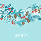 Merry Christmas seamless pattern with winter branches. — Stock Vector
