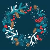 Merry Christmas background with stylized winter branches. — Stock Vector