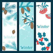 Merry Christmas banners with stylized winter branches. — Stock Vector
