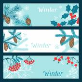 Merry Christmas banners with stylized winter branches. — Vecteur