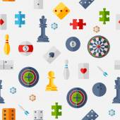 Seamless pattern with game icons in flat design style. — Stock Vector