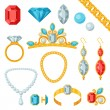 Set of beautiful jewelry and precious stones. — Stock Vector #59516619