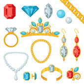 Set of beautiful jewelry and precious stones. — Vector de stock