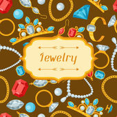 Set of beautiful jewelry and precious stones. — Stock Vector