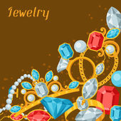 Set of beautiful jewelry and precious stones. — Cтоковый вектор