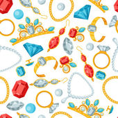 Seamless pattern with beautiful jewelry and precious stones. — Cтоковый вектор