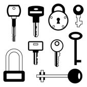 Locks and keys icons set in flat style. — Stock Vector