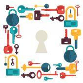 与锁和钥匙图标背景设计. — 图库矢量图片