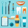 Medical dental equipment icons set in flat style. — Stock Vector #59969035