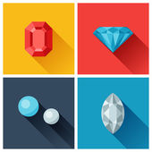 Beautiful jewelry precious stones in flat design style. — Vector de stock