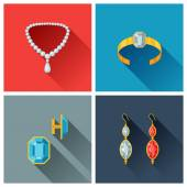 Beautiful jewelry and precious stones in flat design style. — Vector de stock