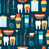 Medical seamless pattern with dental equipment icons. — Vector de stock